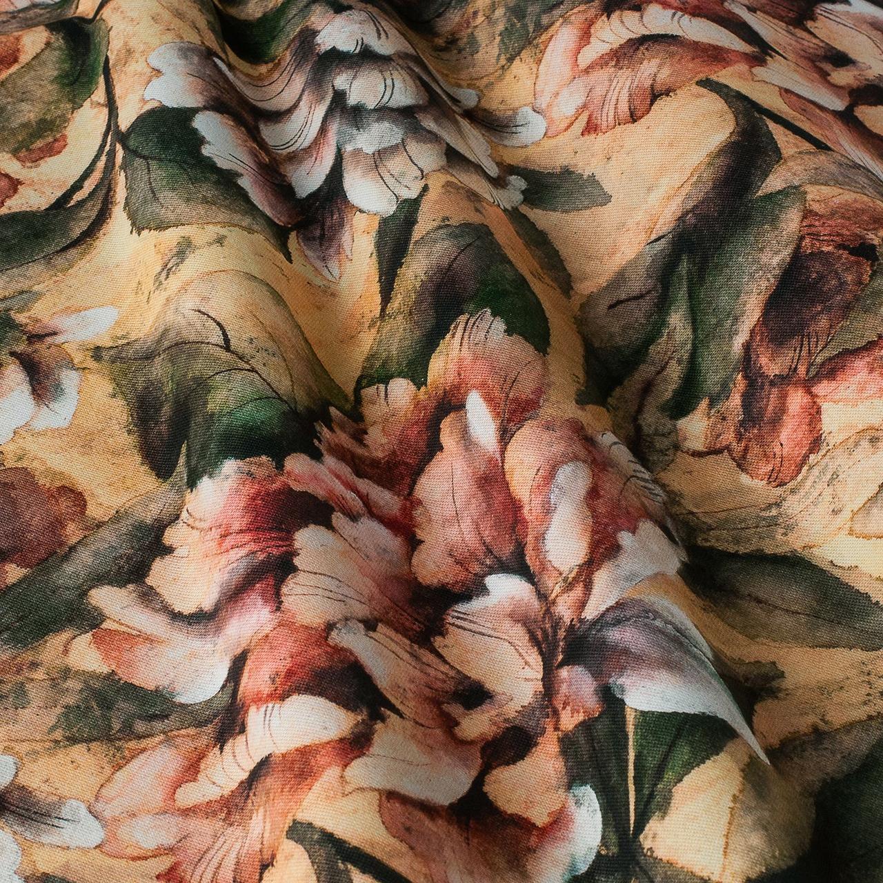 Декоративна тканина жовті і помаранчеві квіти з листям Іспанія 87870v1