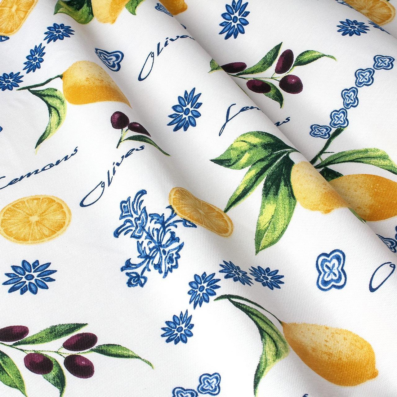 Тканина декоративна лимони з маслинами тефлон 180см 87893v6
