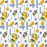 Тканина декоративна лимони з маслинами тефлон 180см 87893v6, фото 2
