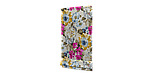 Декоративна тканина жовті квіти сині, рожеві, білі з тефлоновим просоченням Туреччина 87903v3, фото 2