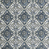 Декоративная ткань вензель синий с тефлоновой пропиткой Турция 87844v11, фото 2