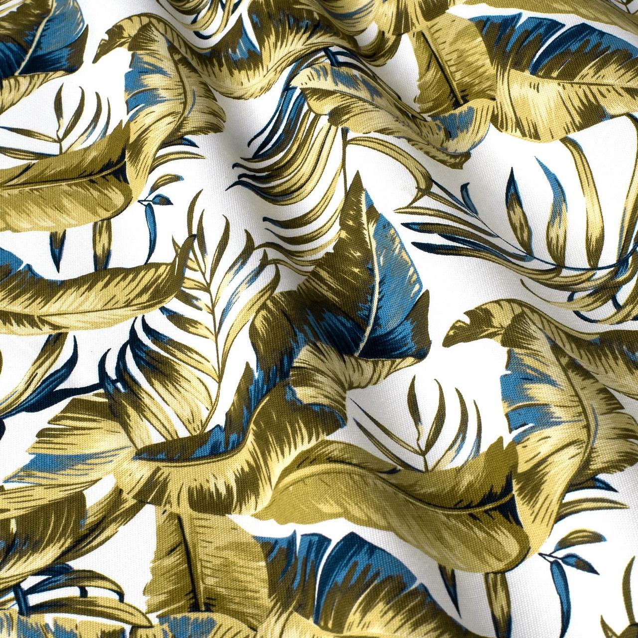 Декоративна тканина тропічні листя оливкові з тефлоновим просоченням Туреччина 87843v2