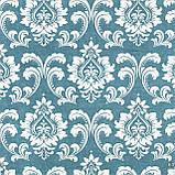 Декоративная ткань вензель бирюзовый с тефлоновой пропиткой Турция 87839v1, фото 2