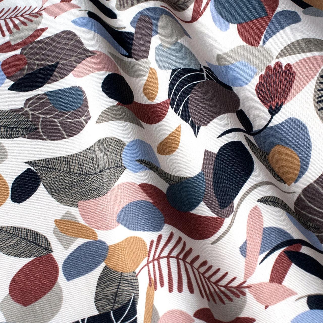 Декоративна тканина коричнева листя з тефлоновим просоченням Туреччина 87860v3