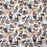 Декоративна тканина коричнева листя з тефлоновим просоченням Туреччина 87860v3, фото 2