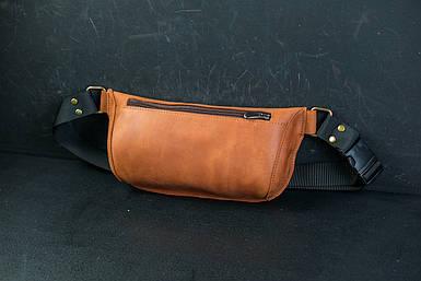 """Сумка """"Модель №70 мини"""" с фастексом, Винтажная кожа, цвет коричневый, оттенок Коньяк"""