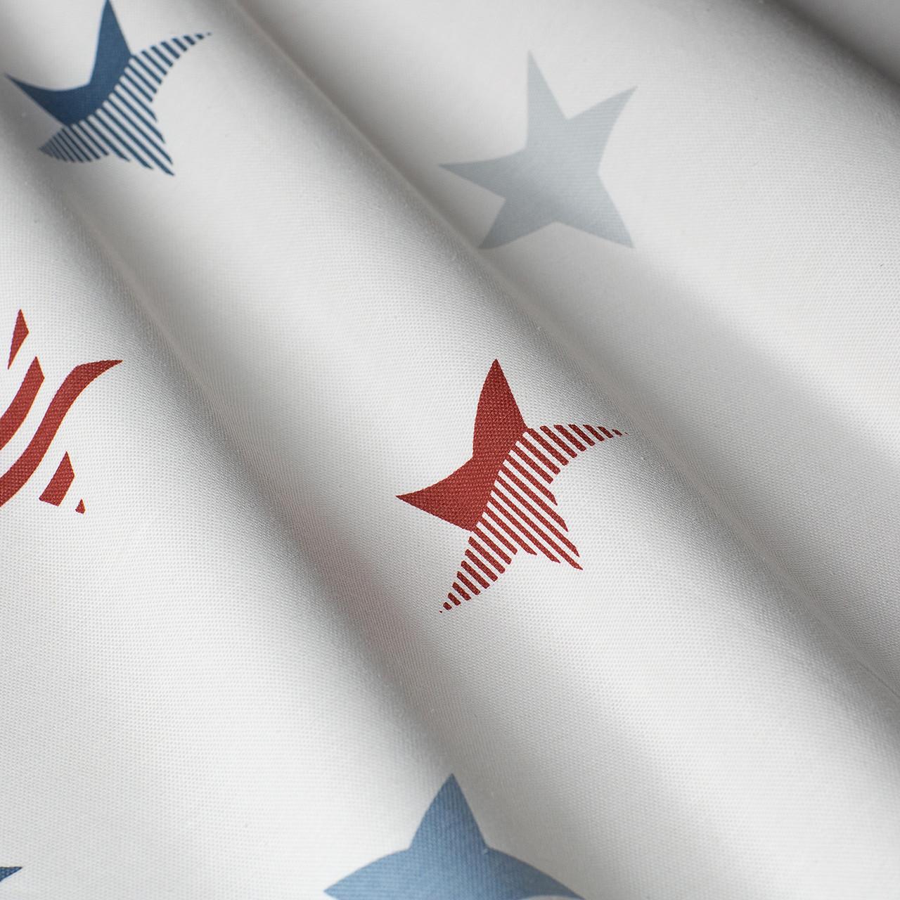 Декоративная ткань с голубыми и красными звездами на белом Турция 85701v4