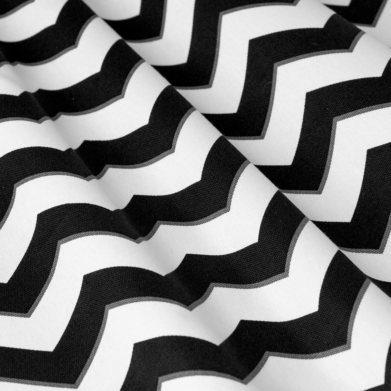 Декоративна тканина в біло-чорний зигзаг 180см 85732v106