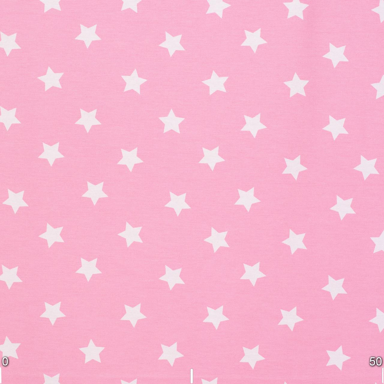 Декоративна тканина з білими зірками на рожевому тлі 180см 85704v6