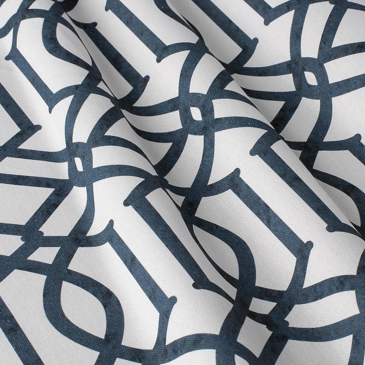 Декоративна тканина синій візерунок на білосніжному тлі Іспанія 280см 84666v1