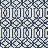 Декоративна тканина синій візерунок на білосніжному тлі Іспанія 280см 84666v1, фото 2