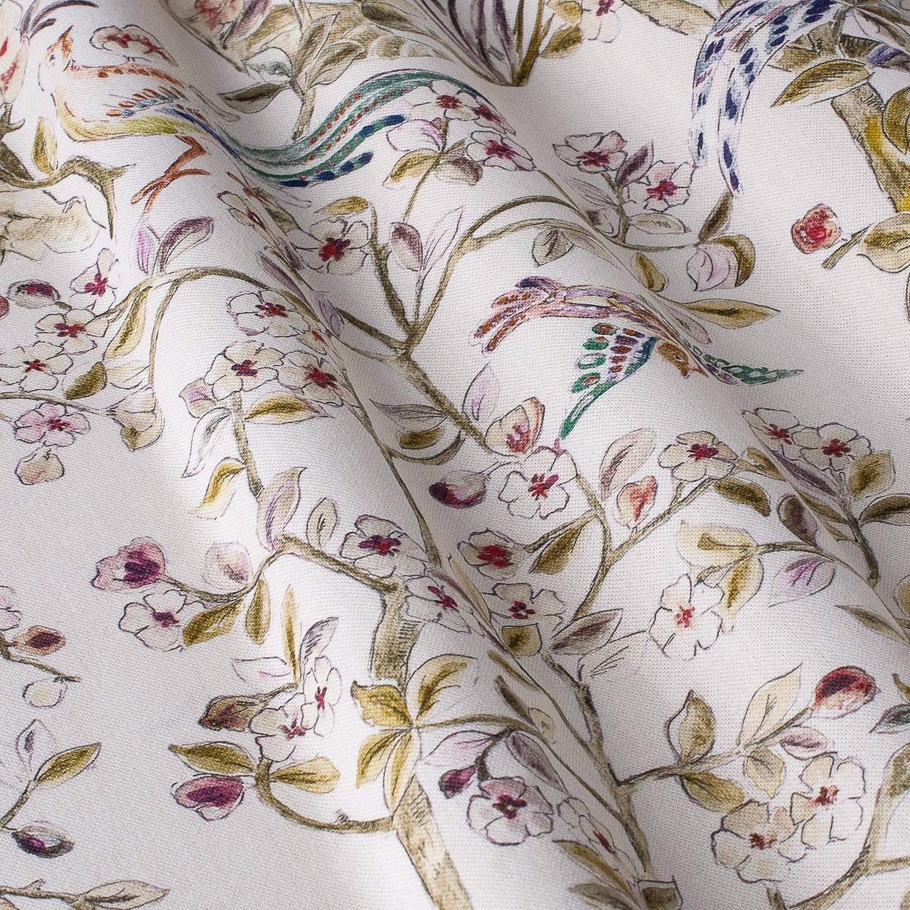 Декоративная ткань салатный цветочный узор на бежевом фоне Испания 84661v2