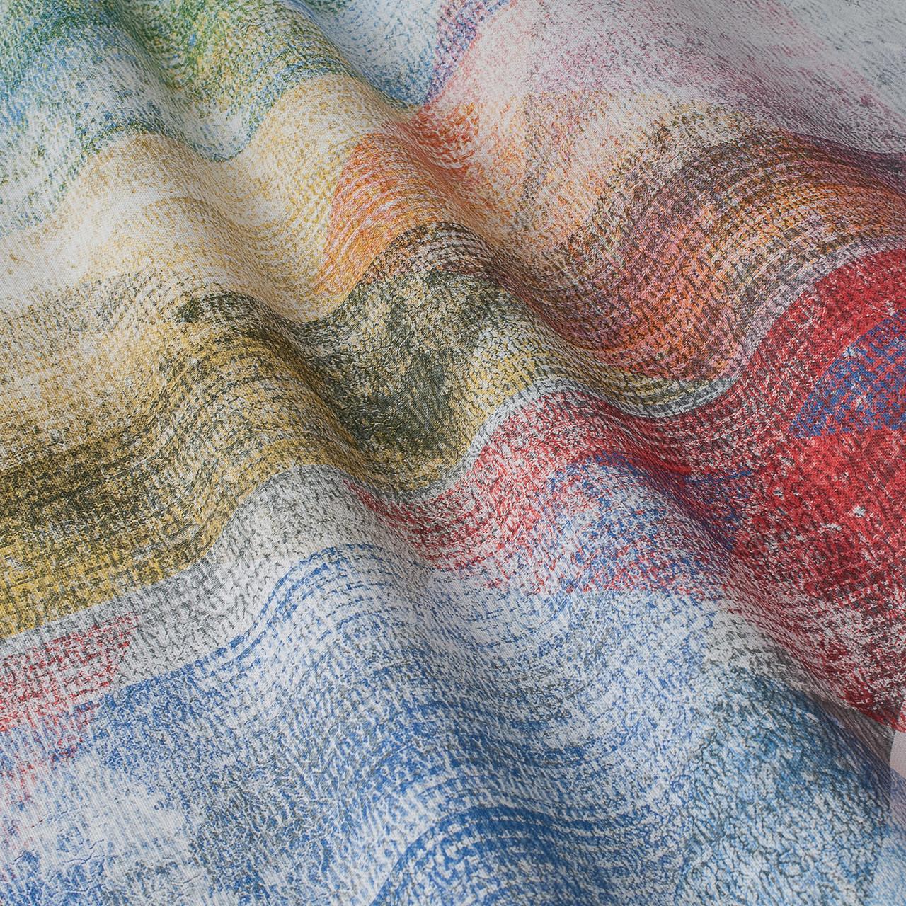 Декоративная ткань с крупными разноцветными ромбами в размытом исполнении Испания 84644v1