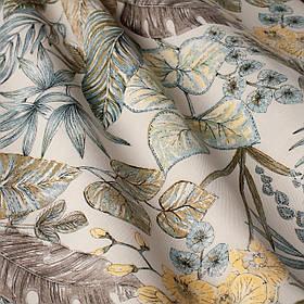 Вулична тканина з великими голубувато-зеленим листям на бежевому фоні Іспанія 84639v4