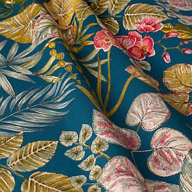 Вулична тканина з великими жовтими листям і рожевими бутонами на синьому 160см 84640v3