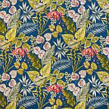Вулична тканина з великими жовтими листям і рожевими бутонами на синьому 160см 84640v3, фото 2