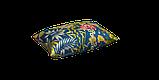 Вулична тканина з великими жовтими листям і рожевими бутонами на синьому 160см 84640v3, фото 3