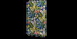Вулична тканина з великими жовтими листям і рожевими бутонами на синьому 160см 84640v3, фото 5