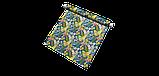 Вулична тканина з великими жовтими листям і рожевими бутонами на синьому 160см 84640v3, фото 6