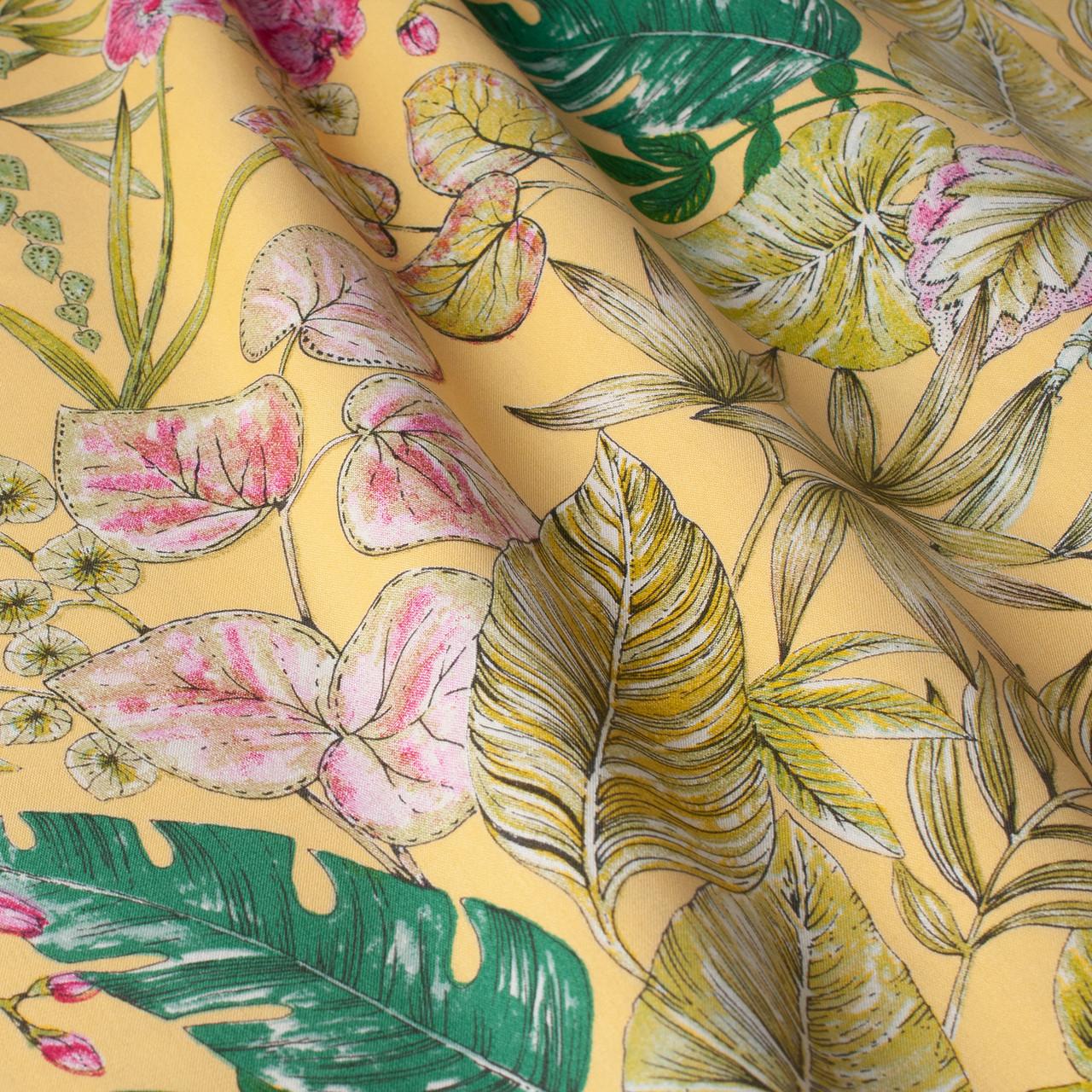 Уличная ткань с крупными желтыми листьями и розовыми бутонами 160см 84638v2