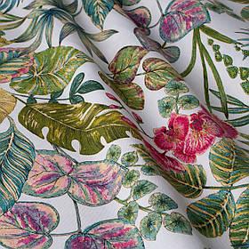 Вулична тканина з великими зеленими листками і червоними квітками Іспанія 84637v1