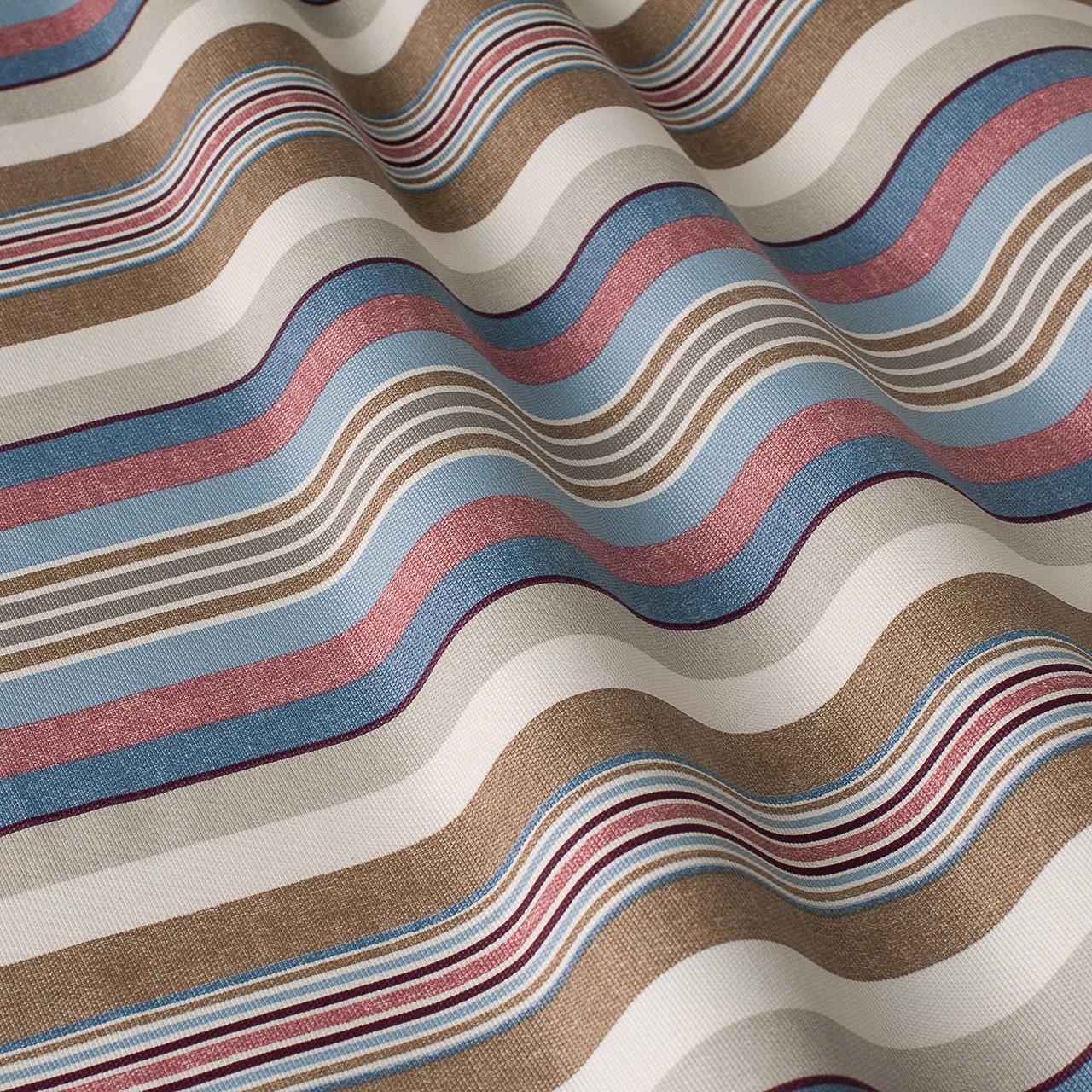 Декоративна тканина в смужку бежево-блакитного кольору з тефлоном 84609v5