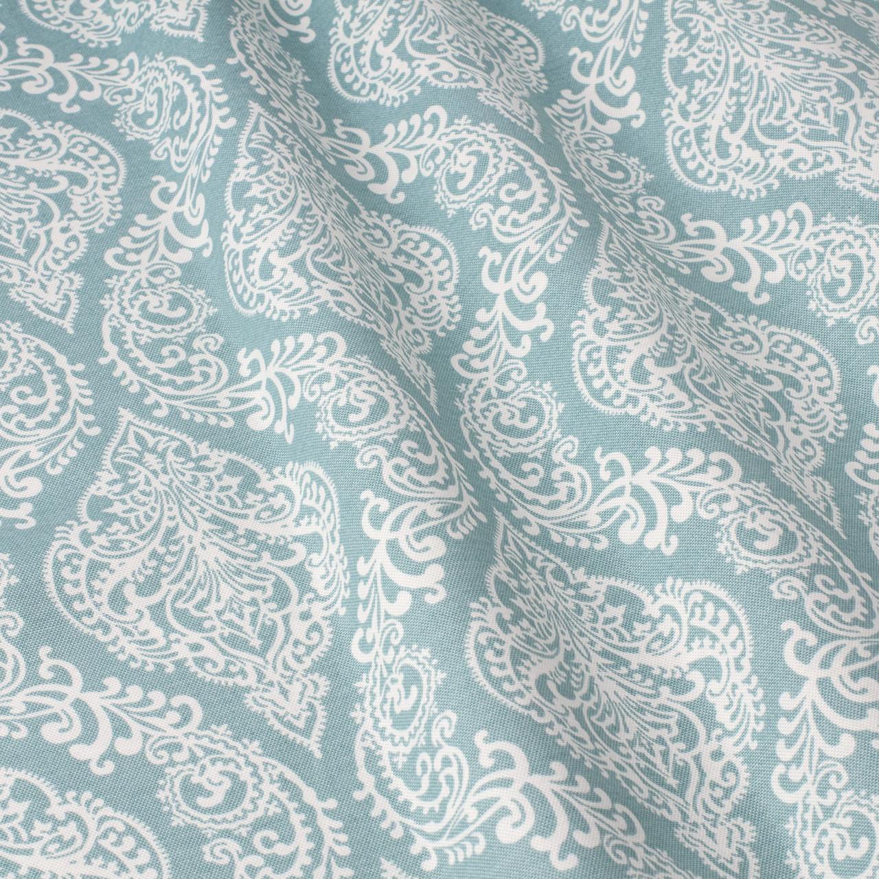 Декоративная ткань белые узоры на голубом фоне Турция 84586v7