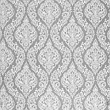 Декоративна тканина білі візерунки на сірому тлі Туреччина 84583v3, фото 2