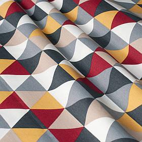 Декоративна тканина з сіро-бежевою мозаїкою 180см 84484v1