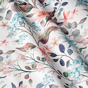 Декоративная ткань с цветами бирюзового и кораллого цвета Испания 84383v1