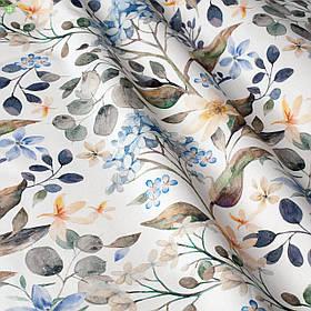 Декоративная ткань с растениями с преобладающим синим 84384v2