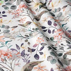 Декоративная ткань флора в коралловом и фиолетовом тонах 84385v3