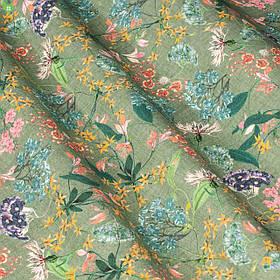 Декоративная ткань мелкие цветы на зеленом фоне 84341v2