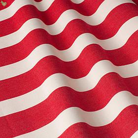 Уличная декоративная ткань в полоску красного и белого цвета 84331v4