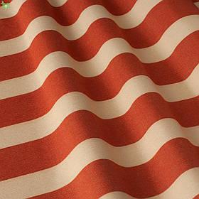 Уличная декоративная ткань полоса красного и бежевого цвета 84330v3
