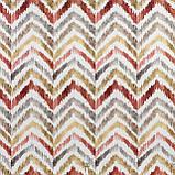 Декоративная ткань с разноцветными зигзагами на белом фоне для покрывала 84305v1, фото 3