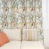 Декоративная ткань с голубыми растениями и розовыми фламинго на белом для подушек на диван 84301v1, фото 2