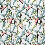 Декоративная ткань с голубыми растениями и розовыми фламинго на белом для подушек на диван 84301v1, фото 3
