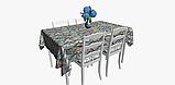 Декоративная ткань с голубыми растениями и розовыми фламинго на белом для подушек на диван 84301v1, фото 5