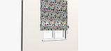Декоративная ткань с крупными цветными растениями и птицами на голубом 84296v1, фото 3