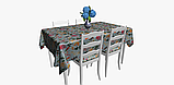 Декоративная ткань с крупными цветными растениями и птицами на голубом 84296v1, фото 5