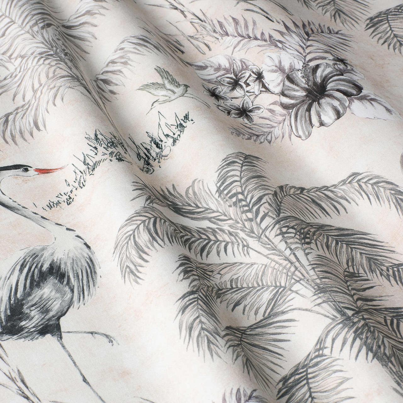 Декоративні тканини з великими сірими рослинами і птахами 84291v2