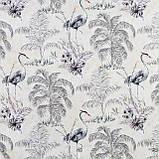 Декоративні тканини з великими сірими рослинами і птахами 84291v2, фото 2