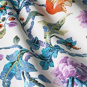 Декоративная ткань с пестрыми тропическими растениями оранжевого голубого и фиолетового цвета Турция 83592v3