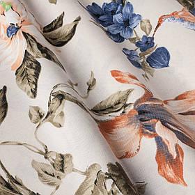 Декоративная ткань с мелкой колибри опыляющей крупные тропические цветки сливочного цвета Турция 83575v59