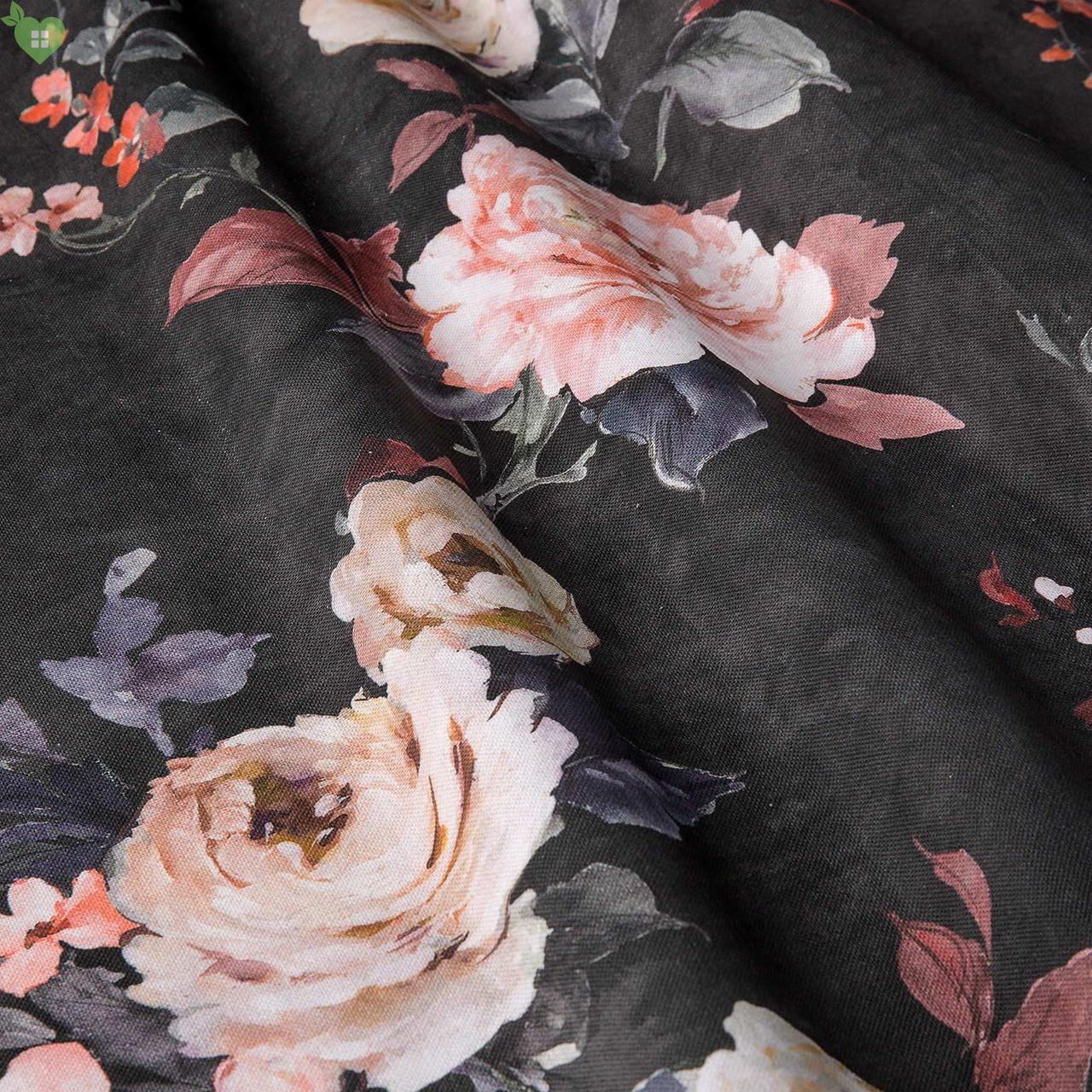 Декоративна тканина з дрібними бутонами блякло-бордових троянд на чорному Іспанія 400342v83433v1