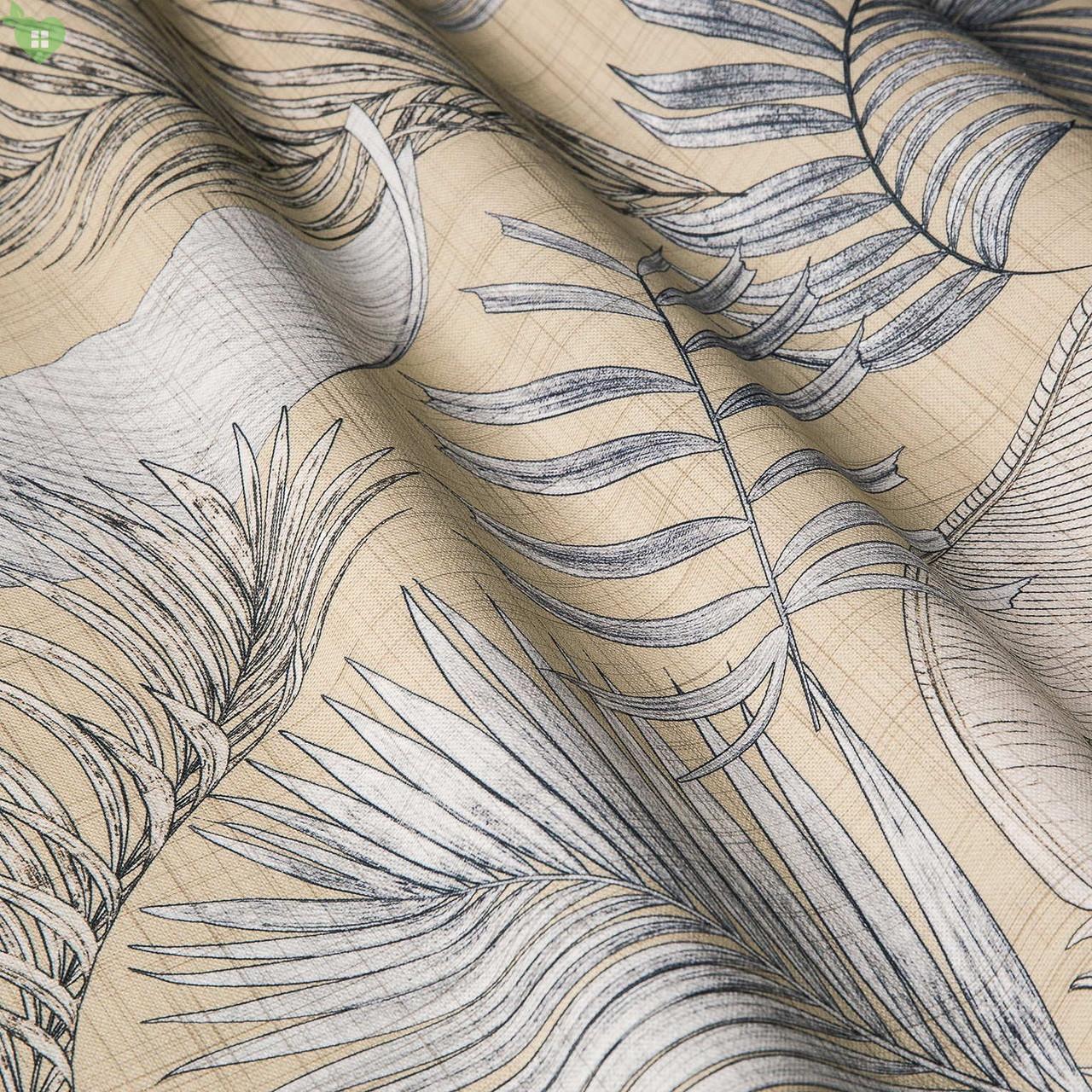 Декоративная ткань с тропическими растениями серого цвета на желто-бежевом Испания 83429v1