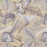 Декоративная ткань с тропическими растениями серого цвета на желто-бежевом Испания 83429v1, фото 2