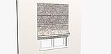 Декоративна тканина білі контурні квіти на льоні 280см 83359v1, фото 6
