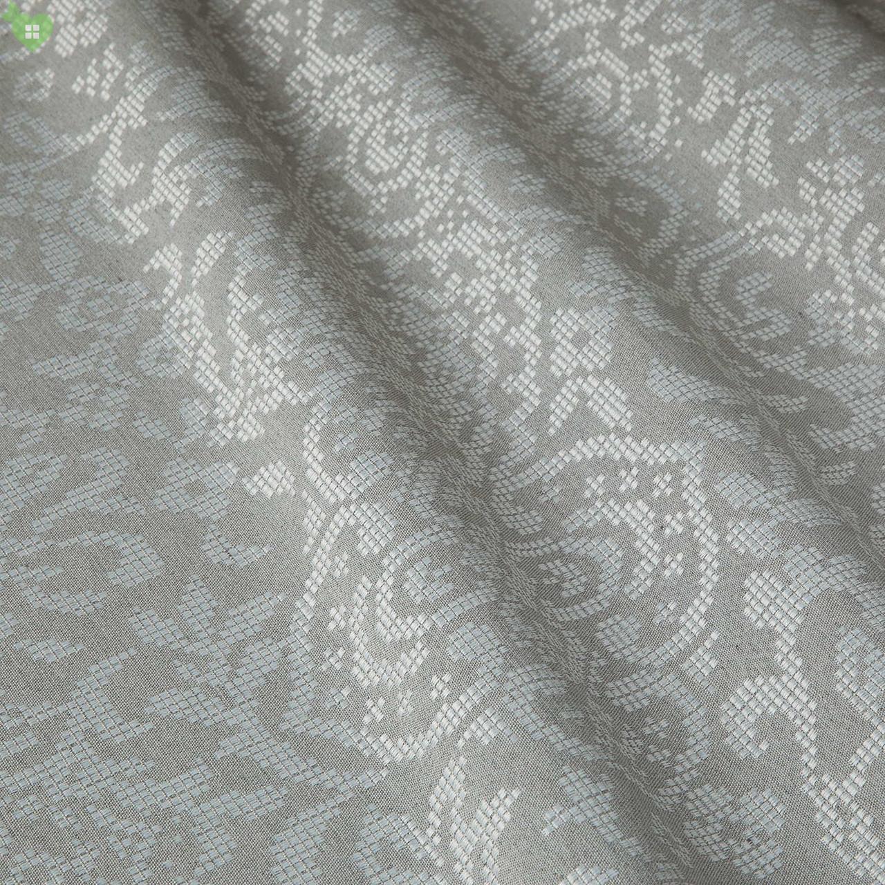 Декоративна тканина з сріблястим класичним візерунком на сірому тлі жаккард Іспанія 83290v1